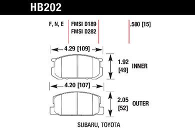 hawk brake pads tech spec diagram HB202