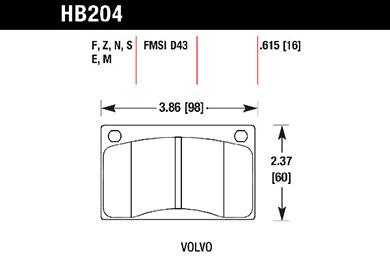 hawk brake pads tech spec diagram HB204