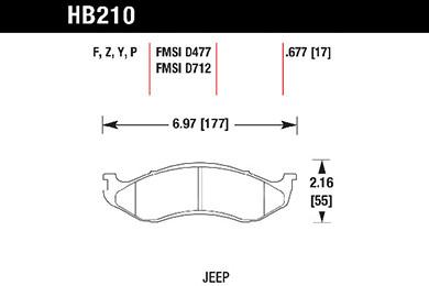 hawk brake pads tech spec diagram HB210