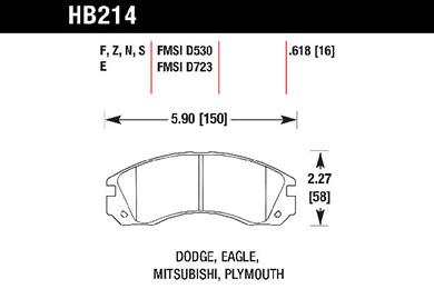 hawk brake pads tech spec diagram HB214