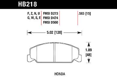 hawk brake pads tech spec diagram HB218