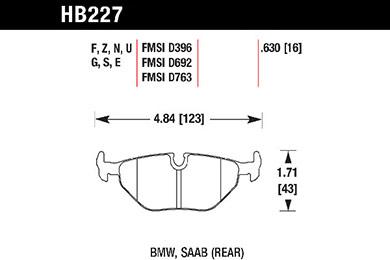 hawk brake pads tech spec diagram HB227