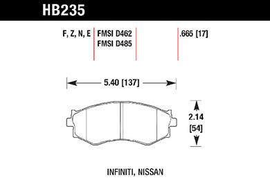 hawk brake pads tech spec diagram HB235