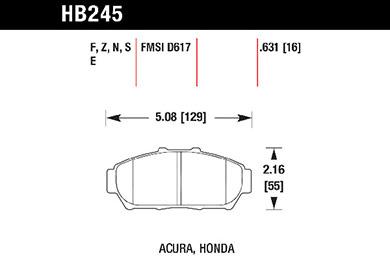 hawk brake pads tech spec diagram HB245
