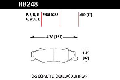 hawk brake pads tech spec diagram HB248