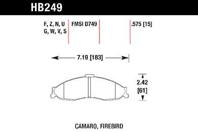 hawk brake pads tech spec diagram HB249