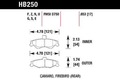 hawk brake pads tech spec diagram HB250