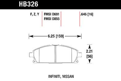 hawk brake pads tech spec diagram HB326