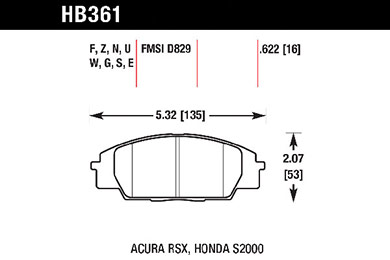 hawk brake pads tech spec diagram HB361