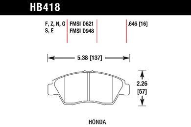 hawk brake pads tech spec diagram HB418