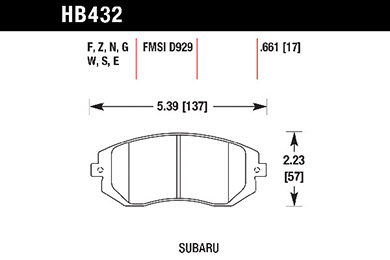 hawk brake pads tech spec diagram HB432