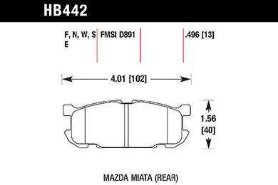 hawk brake pads tech spec diagram HB442