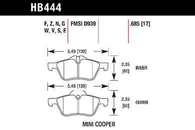 hawk brake pads tech spec diagram HB444