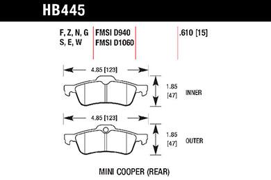 hawk brake pads tech spec diagram HB445