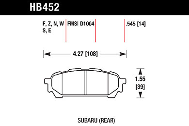 hawk brake pads tech spec diagram HB452