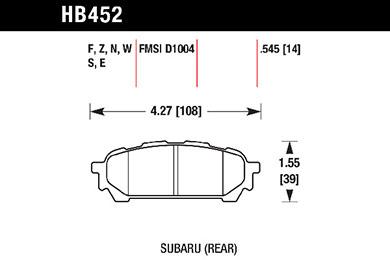 hawk brake pads tech spec diagram HB452