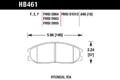 hawk brake pads tech spec diagram HB461