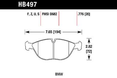 hawk brake pads tech spec diagram HB497