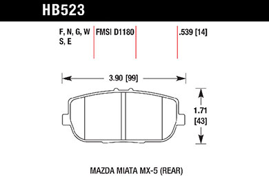 hawk brake pads tech spec diagram HB523