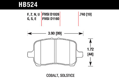 hawk brake pads tech spec diagram HB524