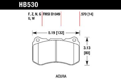 hawk brake pads tech spec diagram HB530