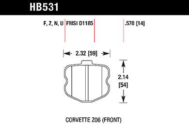 hawk brake pads tech spec diagram HB531