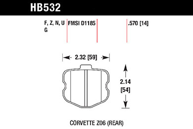 hawk brake pads tech spec diagram HB532