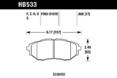 hawk brake pads tech spec diagram HB533
