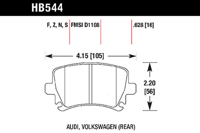hawk brake pads tech spec diagram HB544