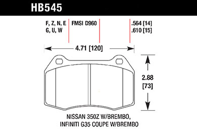 hawk brake pads tech spec diagram HB545