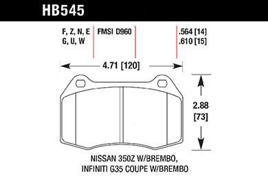hawk brake pads tech spec diagram HB545