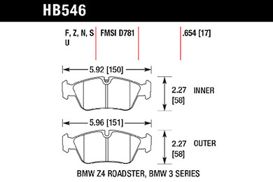 hawk brake pads tech spec diagram HB546