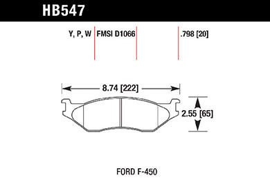 hawk brake pads tech spec diagram HB547