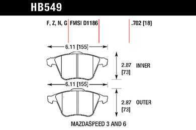 hawk brake pads tech spec diagram HB549