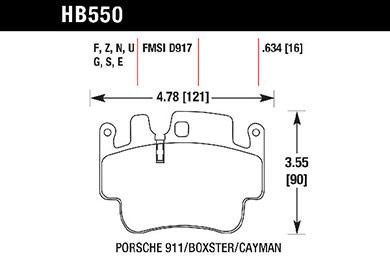 hawk brake pads tech spec diagram HB550