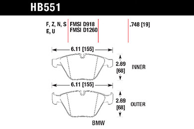 hawk brake pads tech spec diagram HB551