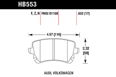 hawk brake pads tech spec diagram HB553