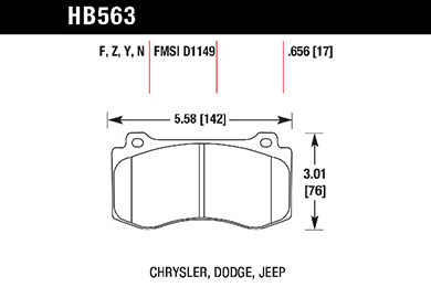 hawk brake pads tech spec diagram HB563