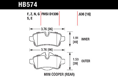 hawk brake pads tech spec diagram HB574