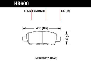 hawk brake pads tech spec diagram HB600