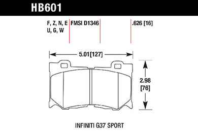 hawk brake pads tech spec diagram HB601