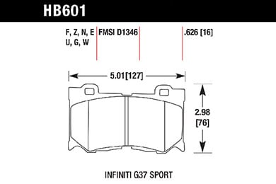 hawk brake pads tech spec diagram HB601