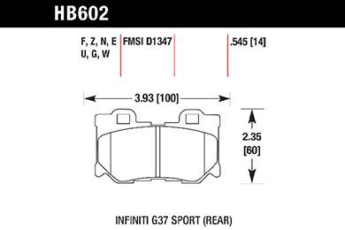hawk brake pads tech spec diagram HB602