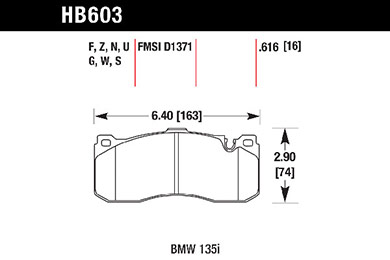 hawk brake pads tech spec diagram HB603