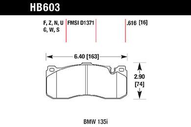 hawk brake pads tech spec diagram HB603
