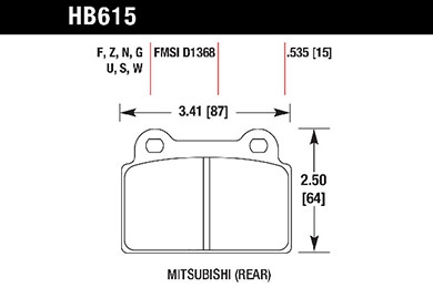 hawk brake pads tech spec diagram HB615