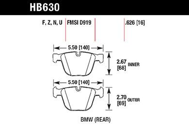 hawk brake pads tech spec diagram HB630