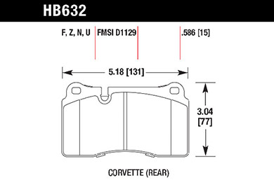hawk brake pads tech spec diagram HB632