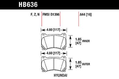 hawk brake pads tech spec diagram HB636