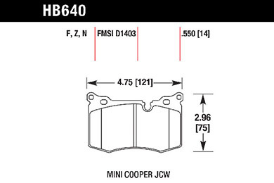 hawk brake pads tech spec diagram HB640